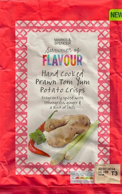 Marks & Spencer Hand Cooked Prawn Tom Yum Potato Crisps Fragrantly Spiced with Lemongrass, Ginger & a Hint of Chilli