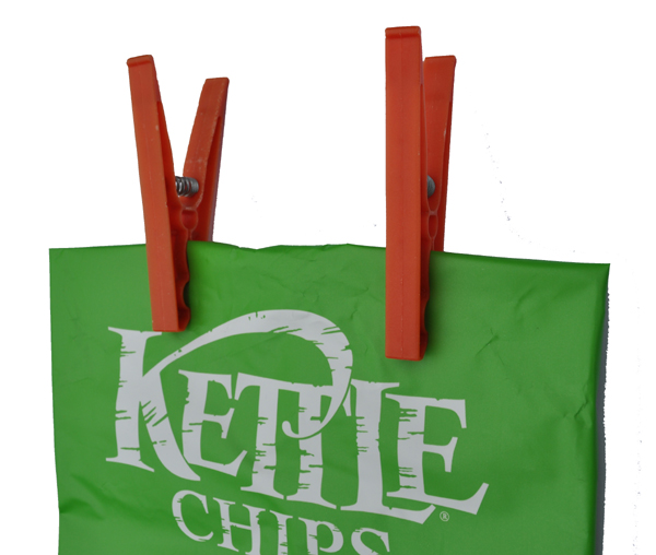 Chips bag with clothes pegs clothes dollies