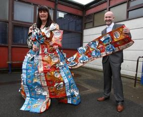 Bride has wedding dress made from crisps bags