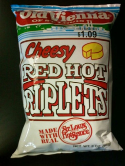 Old Vienna of St Louis Cheesy Red Hot Riplets Potato Chips