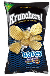 Krunchers! Waves Sea Salt & Cracked Pepper Kettle Cooked Potato Chips