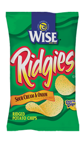 Wise Ridgies Sour Cream & Onion Potato Chips