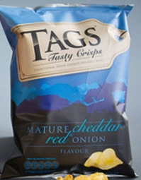 Tags Mature Cheddar & Red Onion Crisps