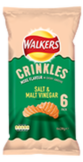 Walkers Crinkles Salt & Malt Vinegar Potato Crisps